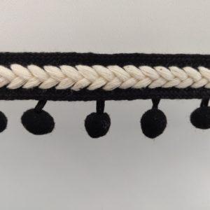 Bolletjeband met ecru randje zwart